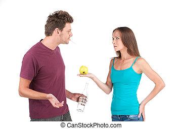 debout, femme, pomme, apple., jeune, eau, donner, fond, blanc, homme