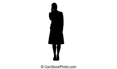 debout, femme, silhouette, elle, conversation, téléphone portable