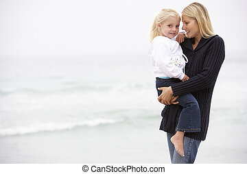 debout, fille, hiver, mère, vacances, plage