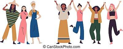 debout, filles, ensemble, tenant mains, femmes, ou, heureux