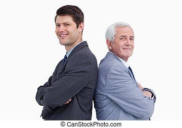 debout, fin, sien, haut, dos, homme affaires, mentor