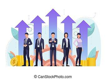 debout, financier, business, réussi, ensemble, croissance, flèche, équipe