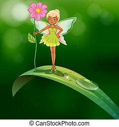 debout, fleur, feuille, tenue, rosée, au-dessus, fée
