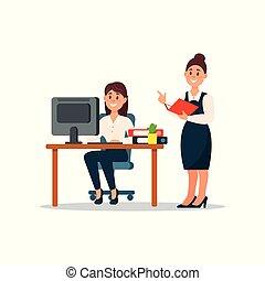 debout, fonctionnement, business, elle, notes, femme affaires, bureau, illustration, vecteur, caractères, subalterne, confection, dessin animé