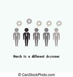 debout, foule., différent, mars, concept., batteur, homme affaires, dehors
