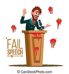 debout, foule., homme affaires, mauvais, isolé, rostrum., public, derrière, presentation., orateur, illustration, vector., infructueux, échouer, parole, avoir, tomates, speech.
