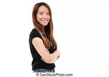 debout, gai, gros plan, femme, jeune regarder, appareil photo, traversé, asiatique, portrait, mains