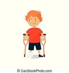 debout, garçon, béquilles, jambe, illustration, triste, cassé, vecteur, fond, blanc