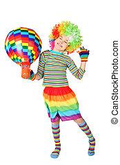 debout, garçon, balloon, isolé, clown, multicolore, fond, robe blanche