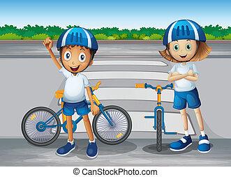 debout, garçon, couloir, leur, illustration, piéton, vélos, girl