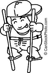 debout, garçon, illustration, main, vecteur, doodles, dessiné, chapeau, bamboo.