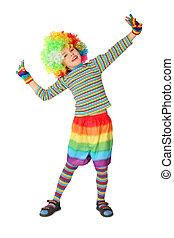 debout, garçon, peu, isolé, clown, fond, robe blanche