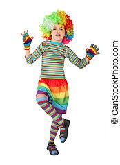 debout, garçon, peu, jambe, isolé, clown, une, fond, robe blanche
