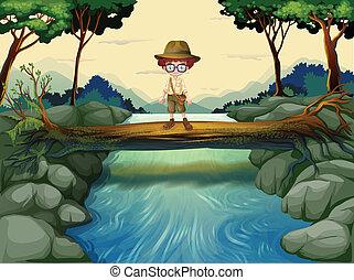 debout, garçon, rivière, au-dessus, coffre