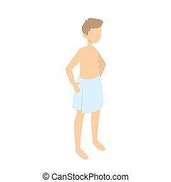 debout, garçon, serviette, taille