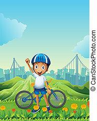 debout, garçon, sien, montagnes, vélo, grand, travers