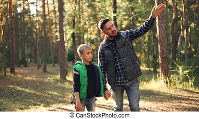 debout, garçon, sur, lent, sourire., nature, ensoleillé, faire gestes, fils, automne, conversation, jour, sien, forêt, écoute, father., papa, curieux, mouvement, aimer