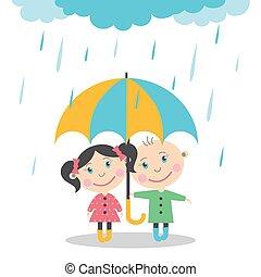 debout, garçon, umbrella., pluie, sous, girl