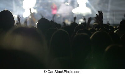debout, gens, exposition, bande, regarder, musical
