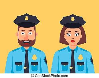 debout, gentil, sécurité, policier, homme, girl, ensemble., guard.