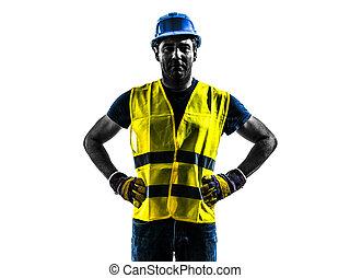 debout, gilet, silhouette, ouvrier, construction, sécurité