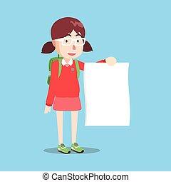 debout, girl, papier