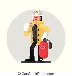debout, girl, pompier