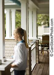 debout, girl, porch.