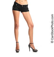debout, girl, shorts.