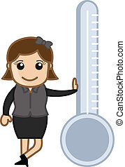 debout, girl, thermomètre