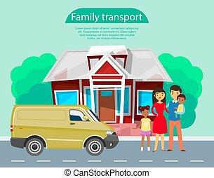 debout, gosses été, transport, illustration., voiture famille, africaine, house., jeune, leur, vecteur, transport, fond, minivan, poster., route pays