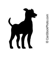 debout, grand, chien, isolé, illustration, silhouette., vecteur, danois, chiot, icon.