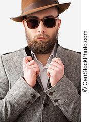 debout, gris, sien, look., manteau, ajustement, jeune, formalwear, confiant, quoique, contre, fond, beau, homme