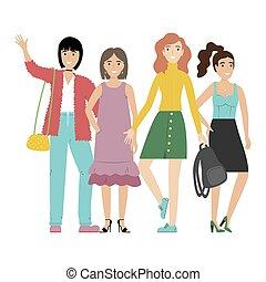 debout, groupe, étudiants, filles, isolé, ou, arrière-plan., ensemble., blanc, amis, sourire heureux