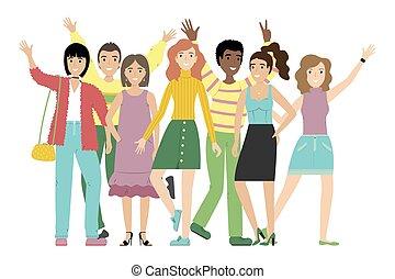 debout, groupe, arrière-plan., étudiants, filles, isolé, ou, garçons, ensemble., blanc, amis, sourire heureux