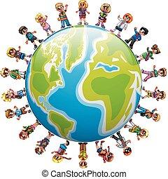 debout, groupe, autour de, mondiale, enfants, heureux