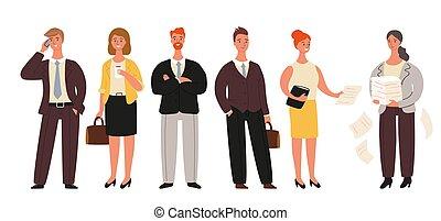 debout, groupe, bureau, professionnels, ensemble, ouvriers, -, isolé, illustration, femmes affaires, arrière-plan., vecteur, collection, blanc, dessin animé, hommes affaires