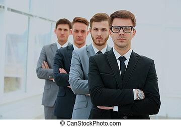 debout, groupe, business, réussi, équipe, rang