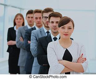 debout, groupe, business, réussi, équipe, row.
