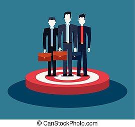 debout, groupe, cible, business, hommes affaires, équipe