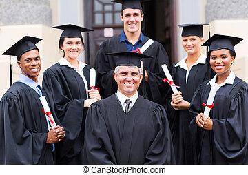 debout, groupe, doyen, diplômés