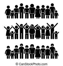 debout, groupe, enfants, heureux