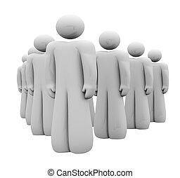 debout, groupe, gens, attention, haut, équipe, revêtu, 3d