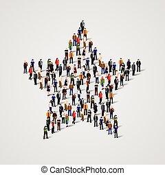 debout, groupe, gens, grand, signe., étoile
