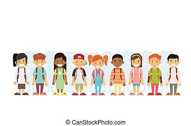 debout, groupe, mélange, course, ligne, enfants