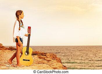 debout, guitare, girl, bord, falaise