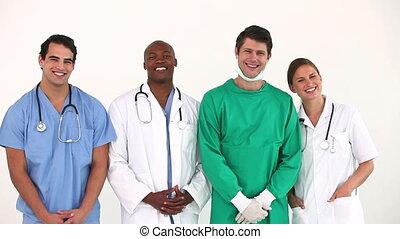 debout, hôpital, ensemble, équipe