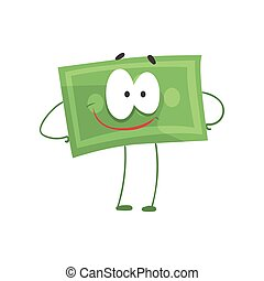 debout, hanches, sourire, plein assurance, financier, plat, argent, face., caractère, bras, dollar, dessin animé, vecteur, vert, illustration, force, concept., style.