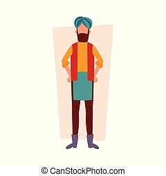 debout, hanches, style, plat, bras, traditionnel, indien, vêtements, dessin animé, homme