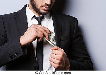 debout, handsome., sien, argent, jeune, formalwear, gris, poche, gros plan, quoique, mettre, contre, fond, riche, homme